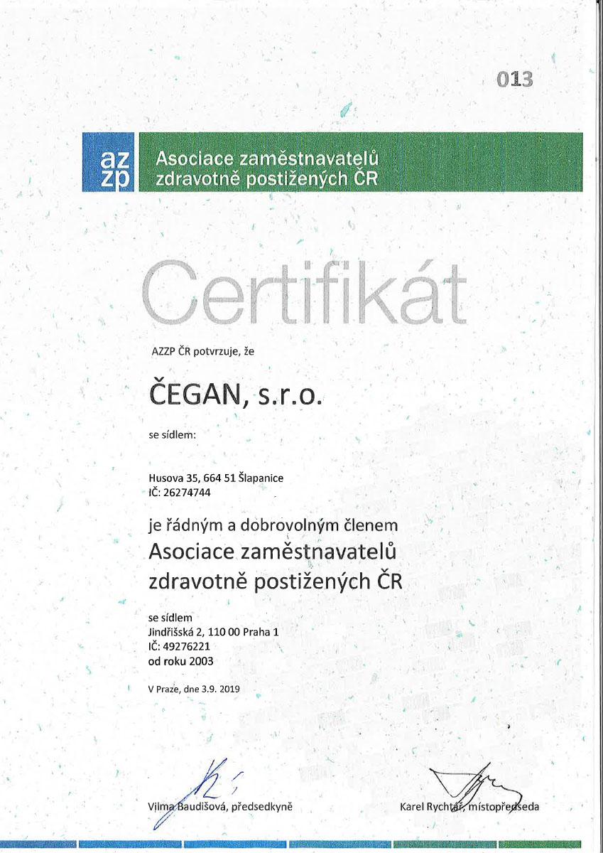 Certifikat AZZP